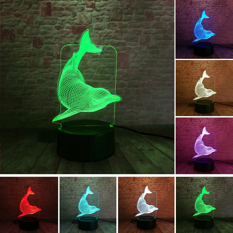 Dolphin Model 3D Nightlight Visual Illusion LED Colourful Flashing Light Glow in the Dar ...
