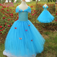 Children Blue Ball Gowns With Butterflies Tulle Tutu Dress Princess Kids Party Wear Dresses For Girls