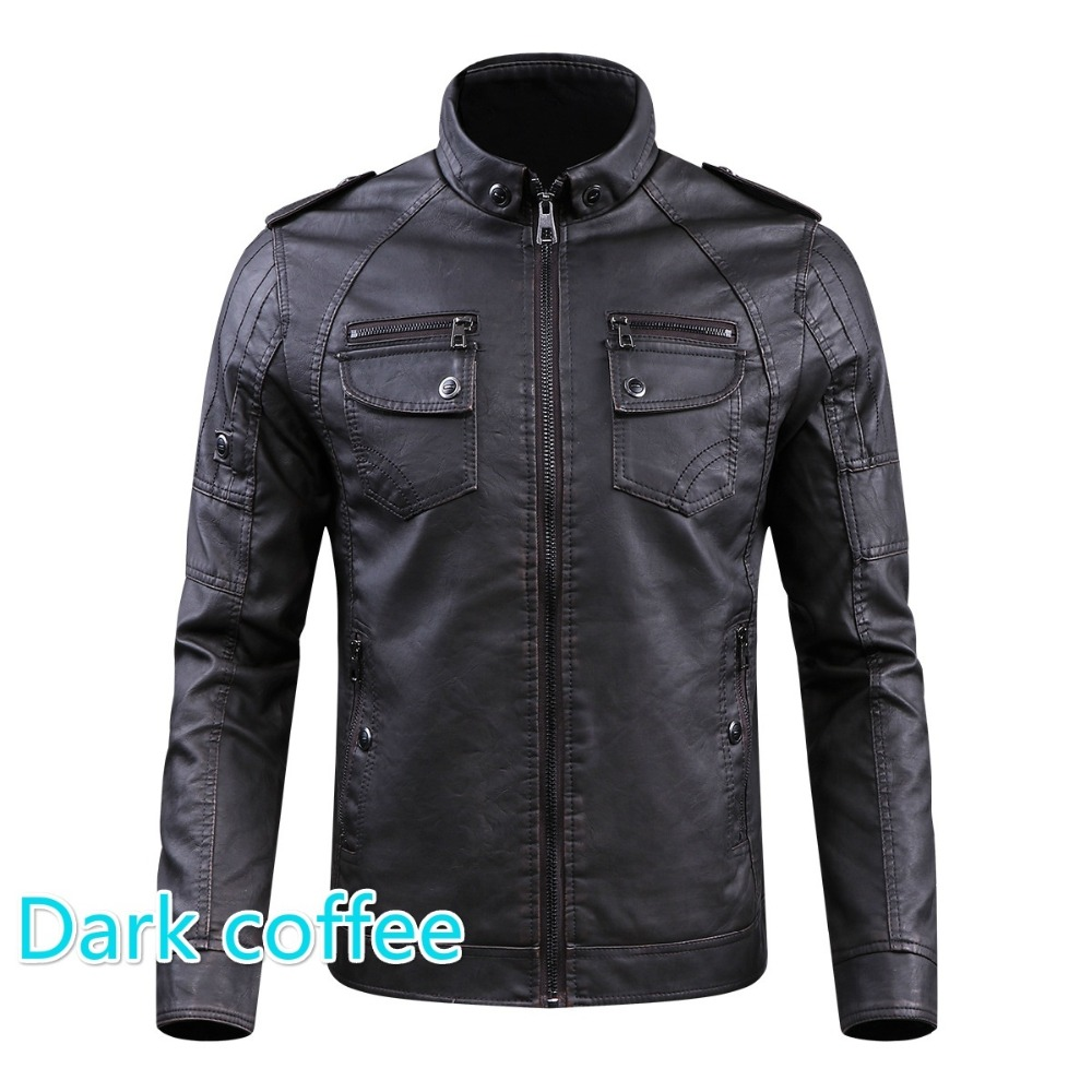 Men PU Leather Jacket 2019 New Autumn Winter Men's Thick Casual Warm Stand Collar Zipper Coats Male Fashion Motorcycle Jackets