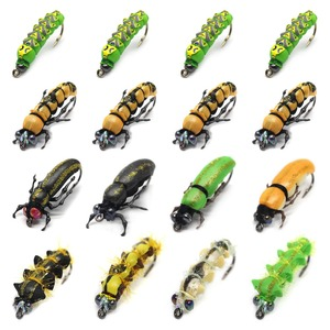 Image 1 - Realistic Fly Fishing Flies Set 16pcs Butterfly Larvae Beetle Dry Flies  Insect Lure for PikeTrout Lure kit flyfishing