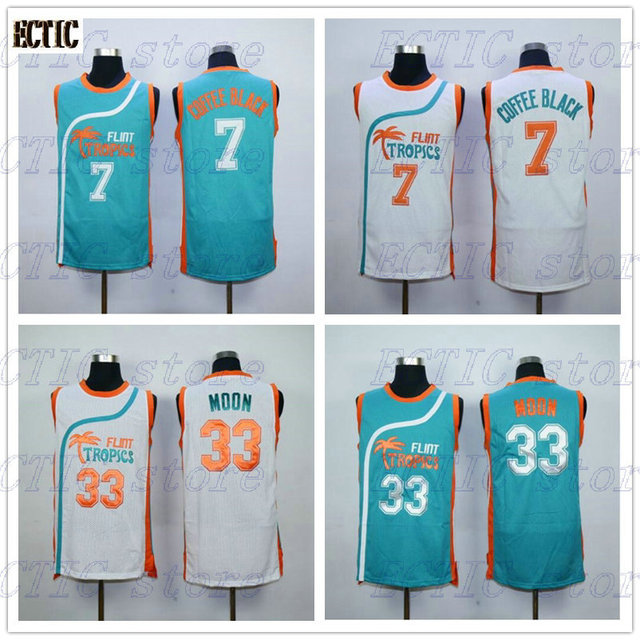 2018 ECTIC Semi Pro Flint Tropics 33 Jackie Moon 7 Coffee Black Basketball  Jerseys White Green S-XXL Free Shipping a42fec3b3