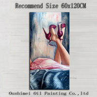 China Well Known Artist Handmade High Quality Impression Lady Lie On The Bed With Red High