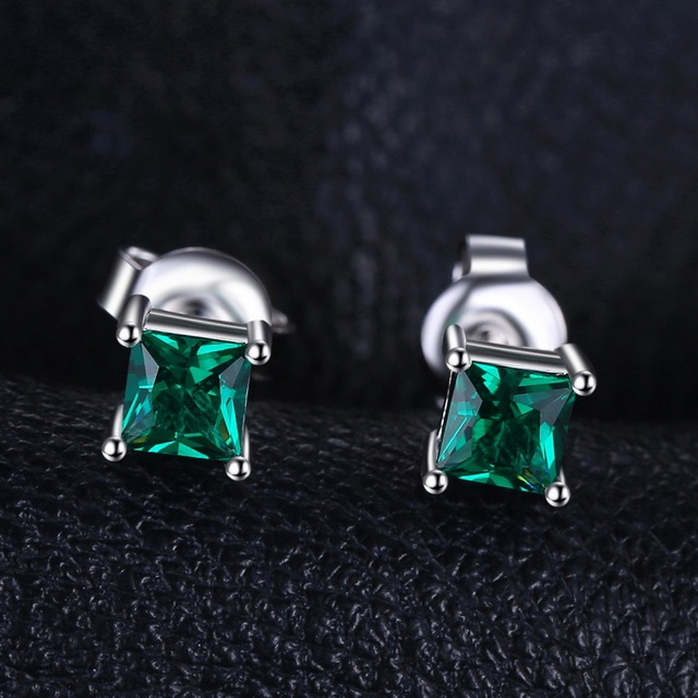 Square 0.6ct Created Emerald 925 Sterling Silver Stud Earrings Classic Fine Jewelry for Women