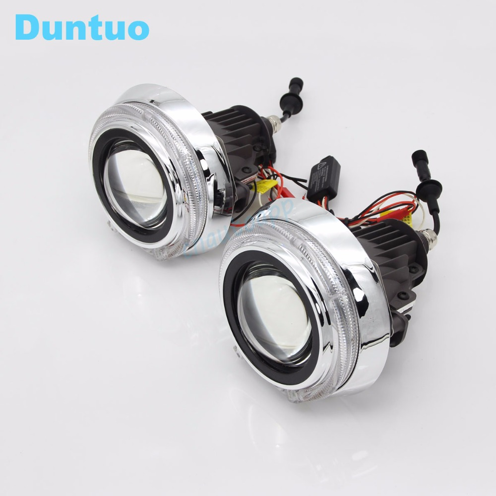 LED phares de voiture Angel Eyes Auto lentille phare DRL Hi/Lo faisceau lampe H4 Q5 H5 lumière LED projecteur 100 W 11600LM couverture-un ensemble