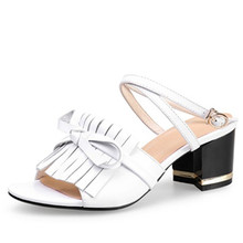 2016 Women Summer shoes white yellow fashion tassel bowtie sandals genuine leather women's high-heeled shoes thick heel sandals