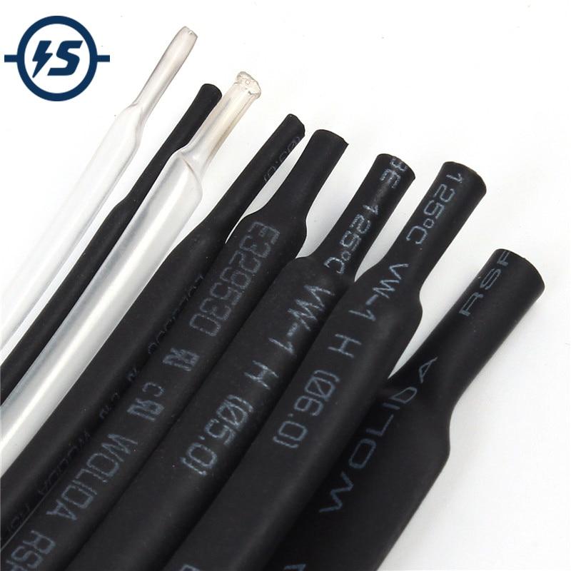 1mm 1Meter 8 Types Kinds Heat Shrink Tubes Package Heat Shrinkable Tube Tubing 2-8 Component Black White