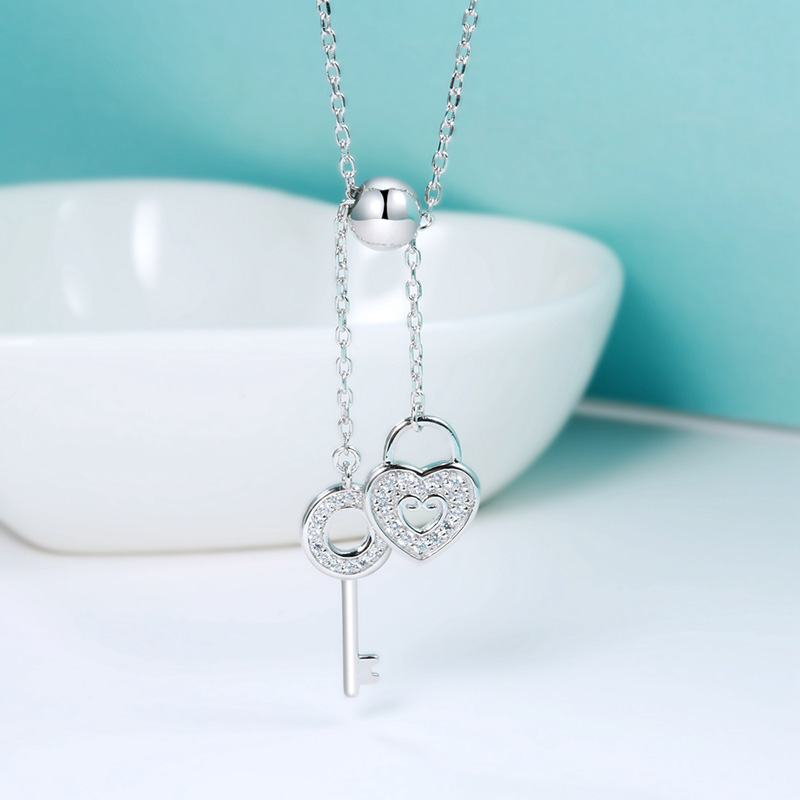 Hot sale 100 925 Sterling Silver Sweet Key of Heart Lock Link Chain Necklaces Pendants Women Luxury Jewelry for women in Pendant Necklaces from Jewelry Accessories