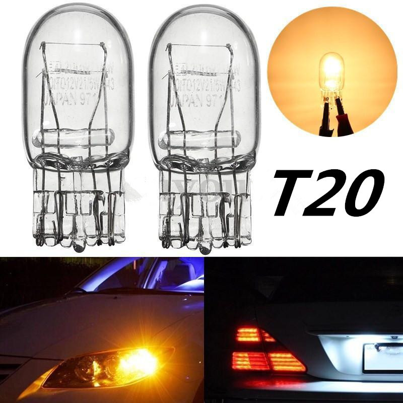 2pcs T20 7443 7440 W21/5W Halogen Bulb Clear Glass Daytime Running Light Turn Signal Light Stop Brake Tail Bulb DRL Bulbs 3800K