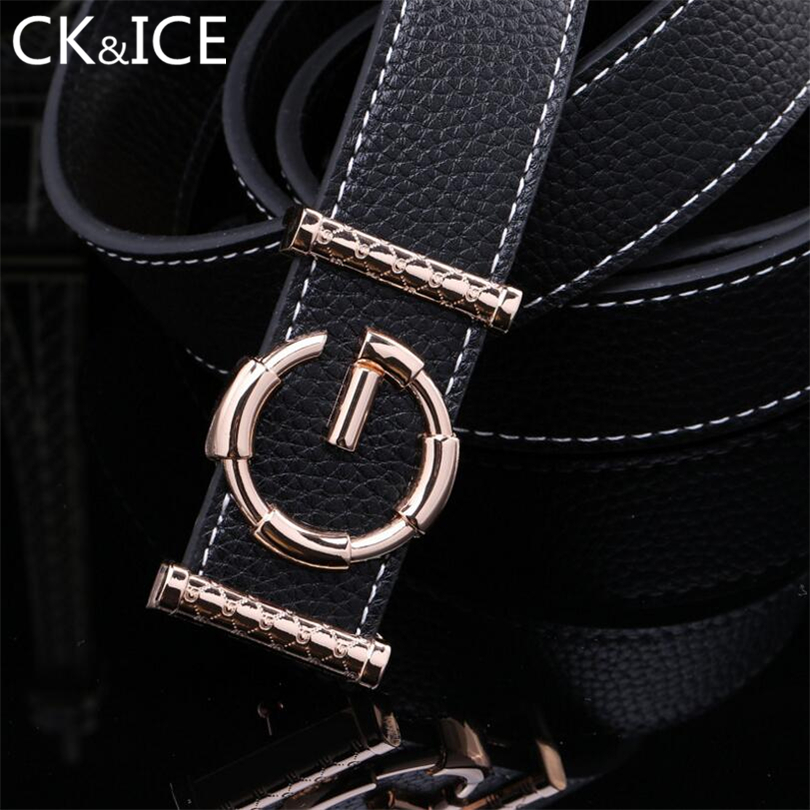 CK&ICE Cowhide Genuine Leather G Belt For Men Women Strap Smooth Buckle Casual Unisex Belts Letter G Buckle Ceinture Cinturon