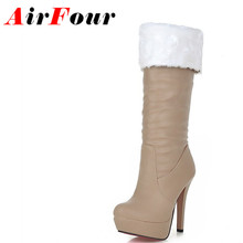 Airfour Women Knee-high Boots Shoes Women Winter Boots High Heels Round Toe White Shoes Large Size 34-43 Women's Fashion Boots