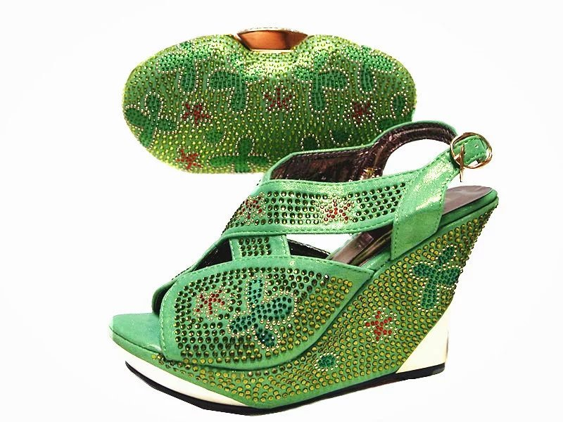 (JA114)African party Shoes Matching Bags Fashion Italian Shoes Matching Bags Sets for green color with Fast Shipping