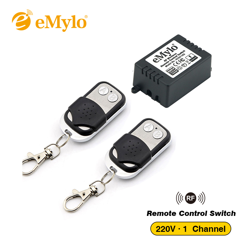 eMylo Switch RF AC 220V-230V-240V 1000W Wireless Remote Control Light Switch 433Mhz 1-Channel Relay With Black&White TransmittereMylo Switch RF AC 220V-230V-240V 1000W Wireless Remote Control Light Switch 433Mhz 1-Channel Relay With Black&White Transmitter