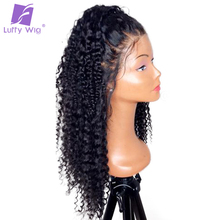 Luffy 180 Density Brazilian Non Remy Hair 13 6 Curly Human Hair Lace Front Wigs With