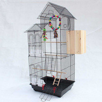 Large Double Inclined Roof Design Bird Cages Houses Metal Iron Parakeet Cockatiel Parrot Cage Birds Pet