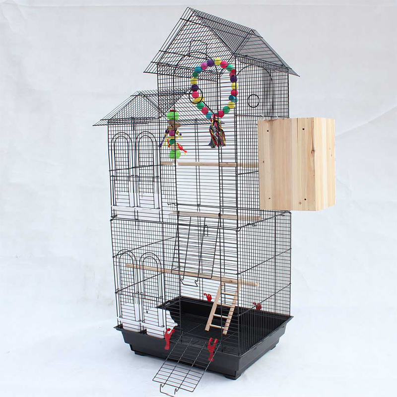 Large Double Inclined <font><b>Roof</b></font> <font><b>Design</b></font> Bird Cages Houses Metal Iron Parakeet Cockatiel Parrot Cage Birds Pet Carrier A12