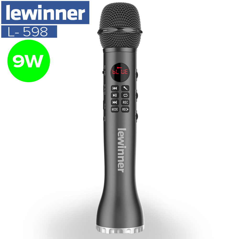 Lewinner L-598 Wireless Microphone Handheld Karaoke Bluetooth Speaker LED Display Screen TF Card Singing Recorder