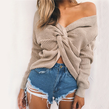 Womens Autumn Winter Cashmere Blended Sweater V-Neck Pullovers Long Sleeve Multiway Convertible Jumpers Women's Knitted Sweaters
