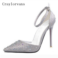 Summer New Shoes Woman Sandals Crystal Shinny High Heels Sandals Sweet Womens Shoe