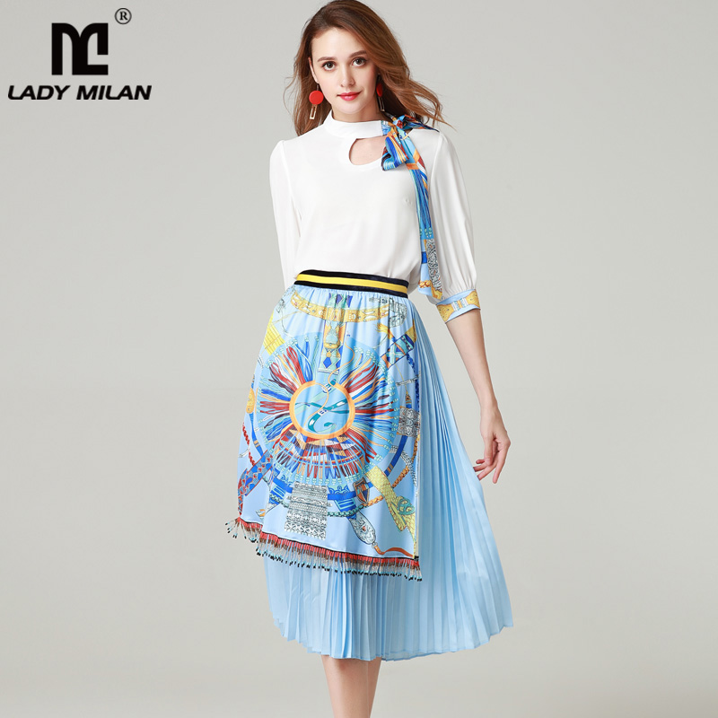 2019 Women s Runway Twinsets Bow Collar 3 4 Sleeves Blouse with Printed Striped Tassels Skirts