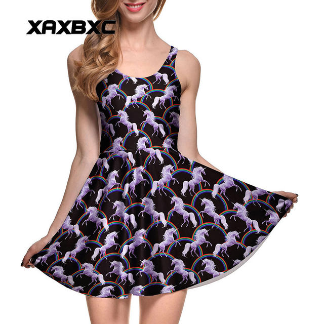 620b14f211 NEW Arrival 1018 Sexy Girl Women Summer Robot Unicorn Attack 3D Prints  Reversible Sleeveless Skater Pleated Dress Plus size