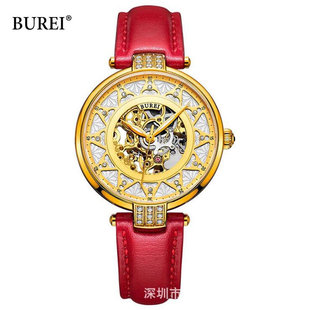Femmes montres top marque de luxe burei squelette mouvement rose d'or cadran saphir lentille automatique montre-bracelet pour les femmes horloge
