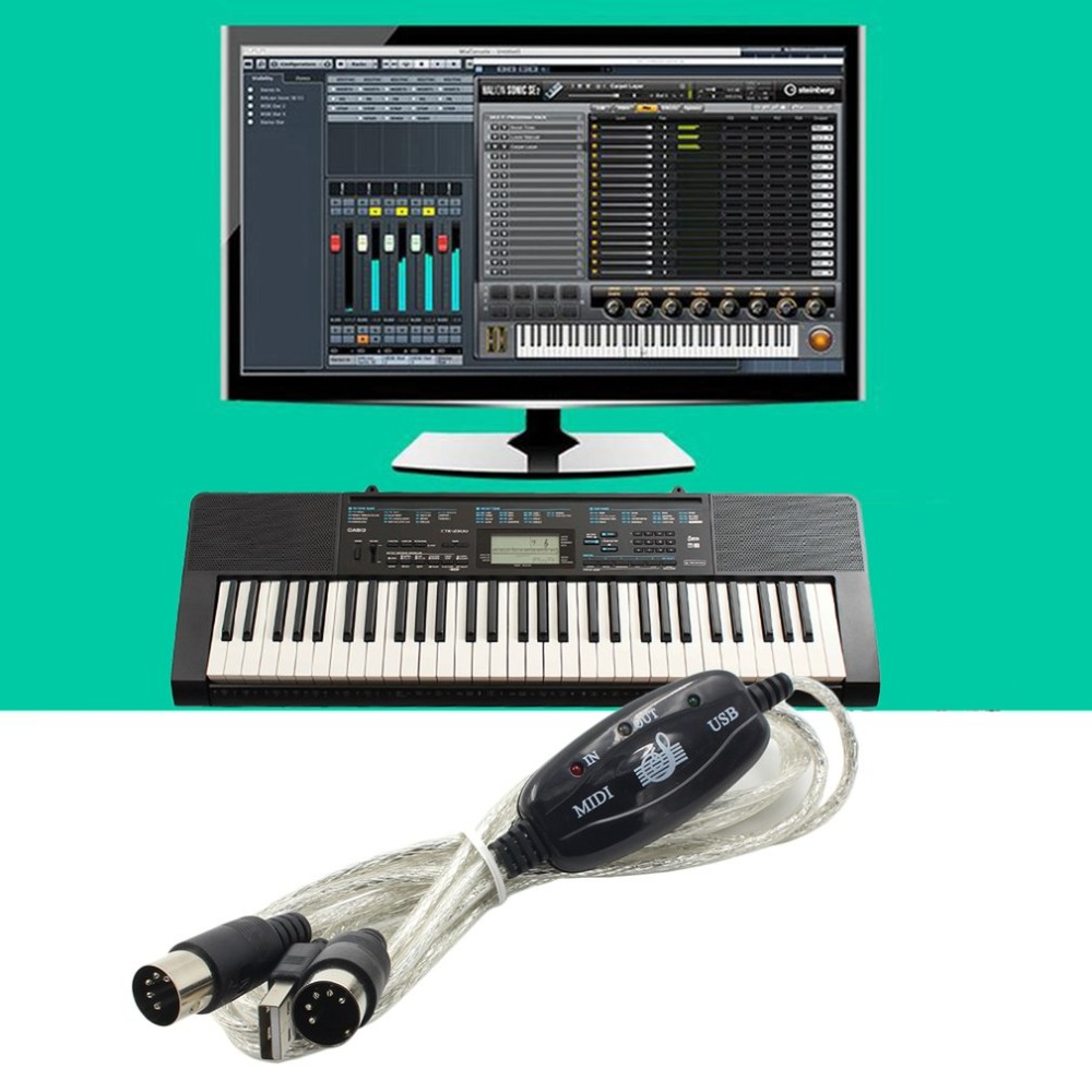 New Converter PC To Music Keyboard Cord  USB IN-OUT MIDI Interface Cable Free / Wholesale Dropshipping