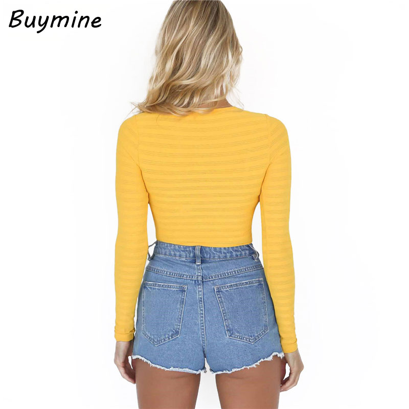 Yellow See Through Sexy Bodysuit Women Long Sleeve Bottom Tshirt Bodysuit  New Button Crotch Skinny Fitness Jumpsuit Playsuit Bts-in Bodysuits from  Women s ... bb658cb56