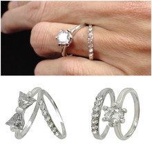 1pair Lovers Fashion CZ Rhinestone Band Finger Rings for Women Wen Girls Boys Wedding Jewelry