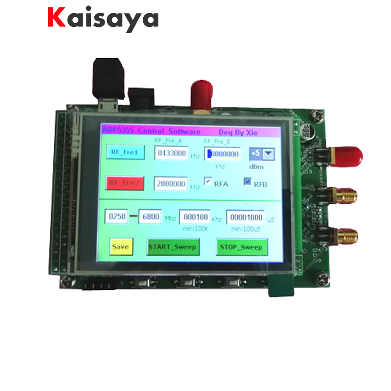 купить new ADF5355 module touch color screen lcd sweep RF signal source VCO microwave frequency synthesizer PLL free shipping G3-001 по цене 10354.66 рублей