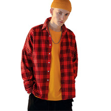 Plaid Shirt Men Shirts 2019 New Autumn Fashion Chemise Homme Mens Checkered Long Sleeve Red Cotton Blouse