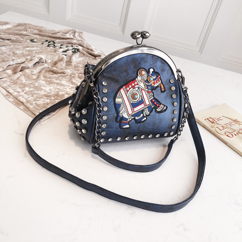 Women's Elephant Embroidery Eco Leather Messenger Bag 3