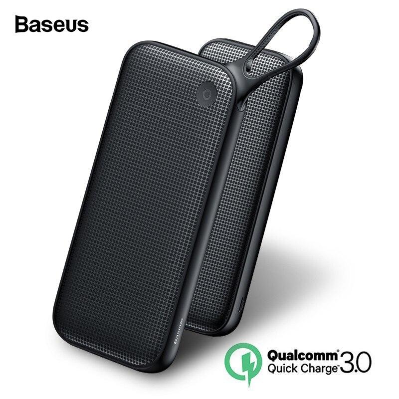 Baseus 20000 mAh carga rápida 3,0 banco de potencia 20000 mAh USB C Pover Poverbank portátil de carga de batería externa cargador banco de energía