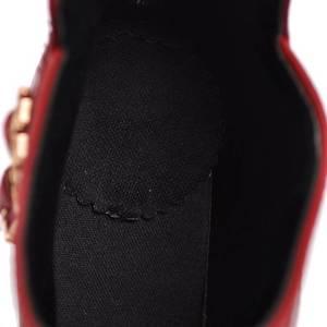 Image 5 - REAVE MÈO Mùa Đông Giày Da Khối Giày cao gót Giày ngắn Boot dây kéo sau lưng Khóa Giày cưới đỏ đen size lớn 45 46