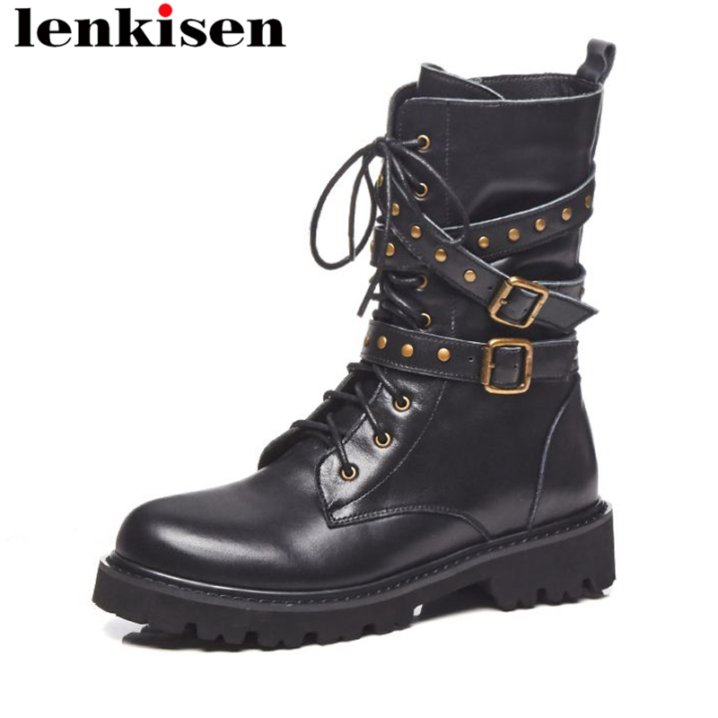 Lenkisen classic motorcycle boots round toe buckle rivets platform genuine leather low heels zip keep warm women ankle boots L03 mce sports mens watches top brand luxury genuine leather automatic mechanical men watch classic male clocks high quality watch