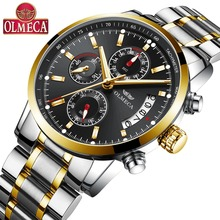 OLMECA Mens Watch Luxury Relogio Masculino Wrist Watches Military  for Men Saat Big Dial Fashion