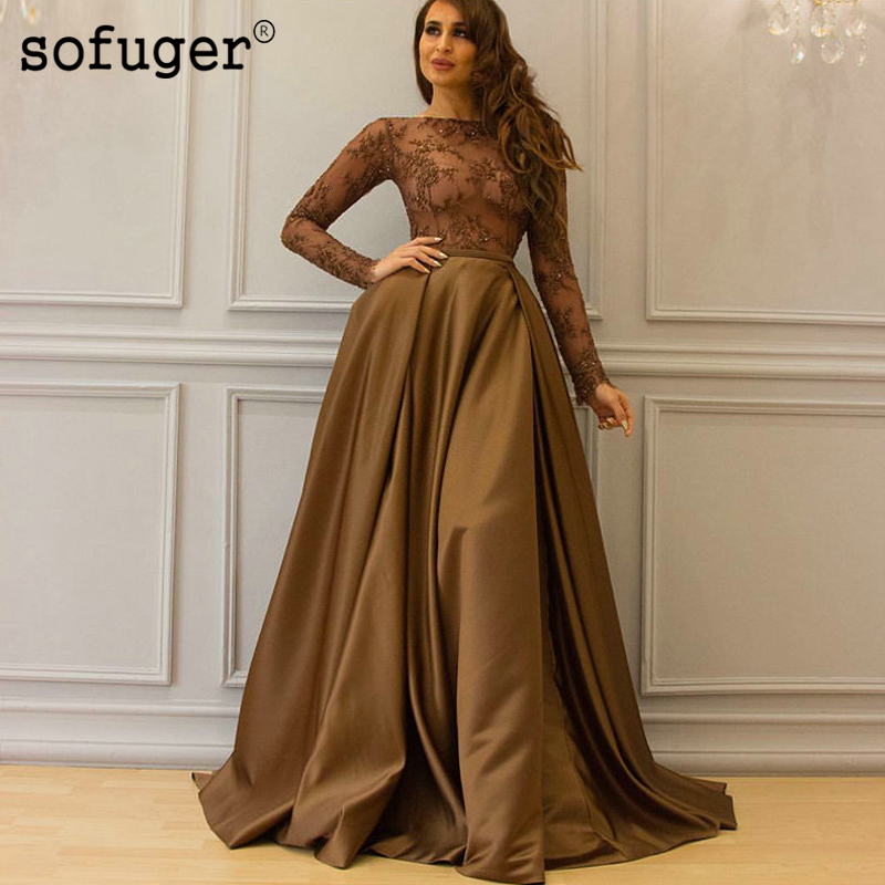 Coffee Color Muslim Long Sleeves Satin Appliques   Evening     Dress   Prom Vestidos De Fiesta Formal Party   Dress   Saudi Arabic