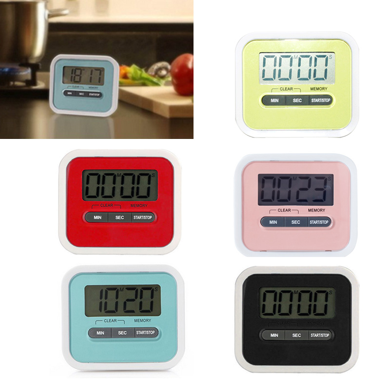 Hoomall 1pc Square Cooking Count Up Countdown Loud Alarm Magnet Clock Kitchen Accessories LCD Digital Screen Kitchen Timer