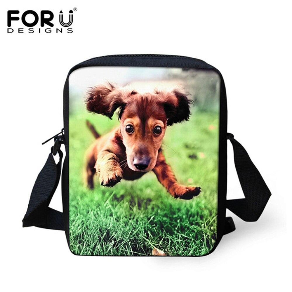 FORUDESIGNS 3D Dachshund Dog Small Women Messenger Bags Vintage Women Handbags Travel Female Messenger Bags Girls Handbag Bags