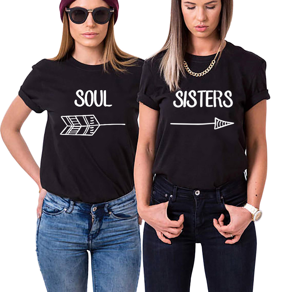 eced8a25673 Detail Feedback Questions about Best Friends Soul Sister Shirts Bestie BFF Tshirt  Woman Top Fashion Chic Letter T Shirt Female Black White Cotton T Shirt ...