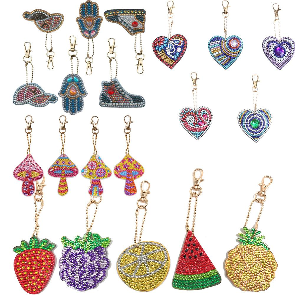 1-6 PCS/set Full Drill 5D DIY Hat Fish Keychain Key Ring Diamond Embroidery Painting Gift Cross Stitch Needlework Craft