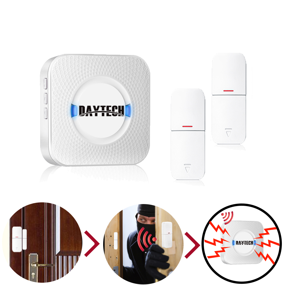 DAYTECH Drahtlose Tür Windows Sensor Chime Home Security Alarm kits system Windows Tür Magnet Sensor Detektor Alarm Eingang