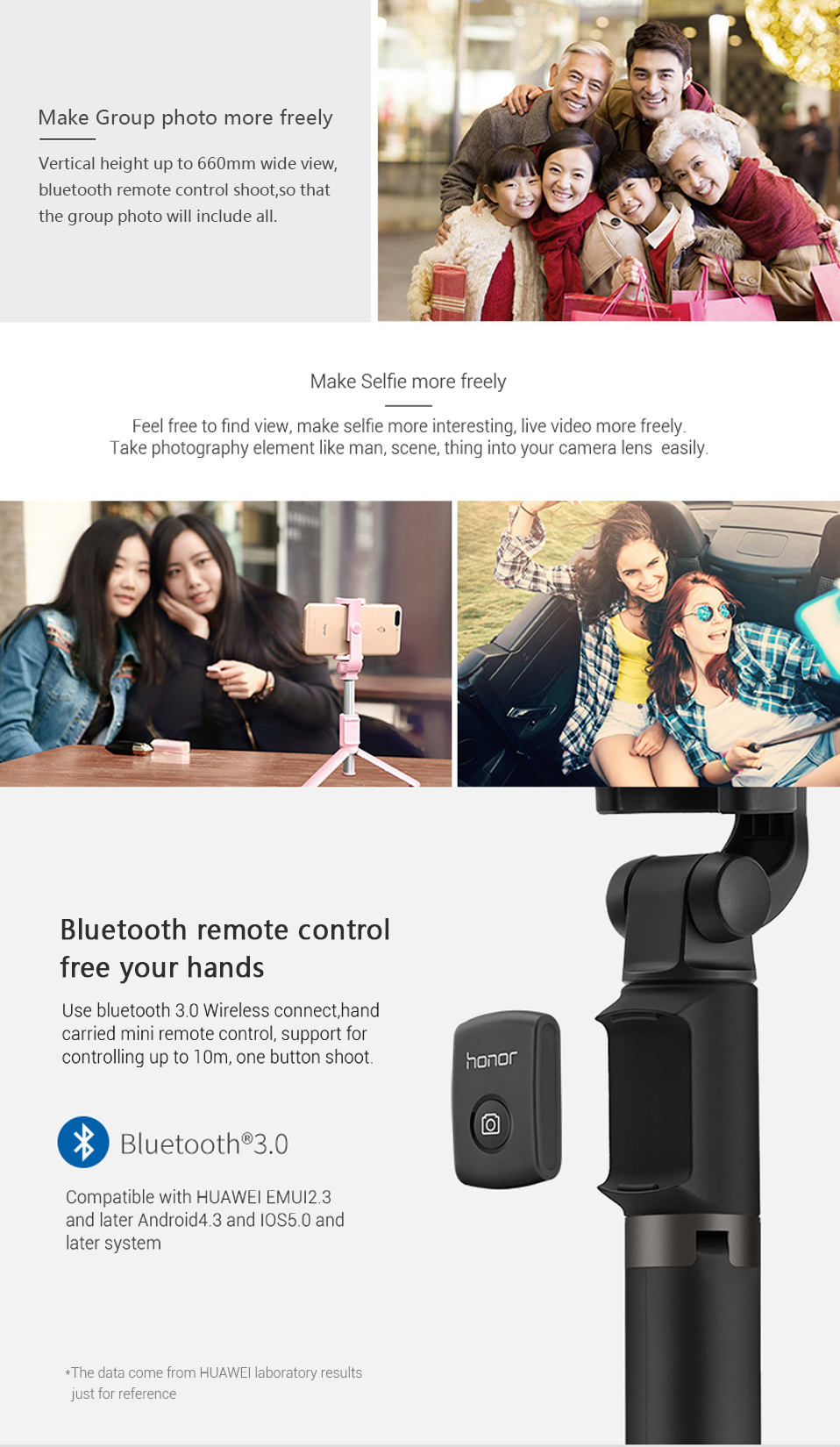 Original Huawei Honor AF15 Selfie Stick Tripod Bluetooth 3.0 Monopod Extendable Handheld Selfie Stick Tripod for IOS Android (4)