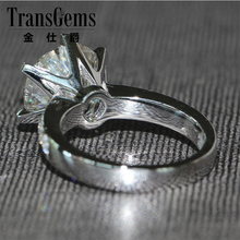 Free Shipping 5 Carat Crystal Stone Moissanite Ring Wedding Ring Real Diamond Accents Solid 14K White Gold Anniversary