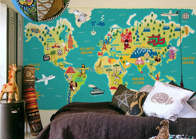 Cartoon children style world map large mural wallpaper tv sofa cartoon children style world map large mural wallpaper tv sofa background photo wallpapers used for living gumiabroncs Image collections