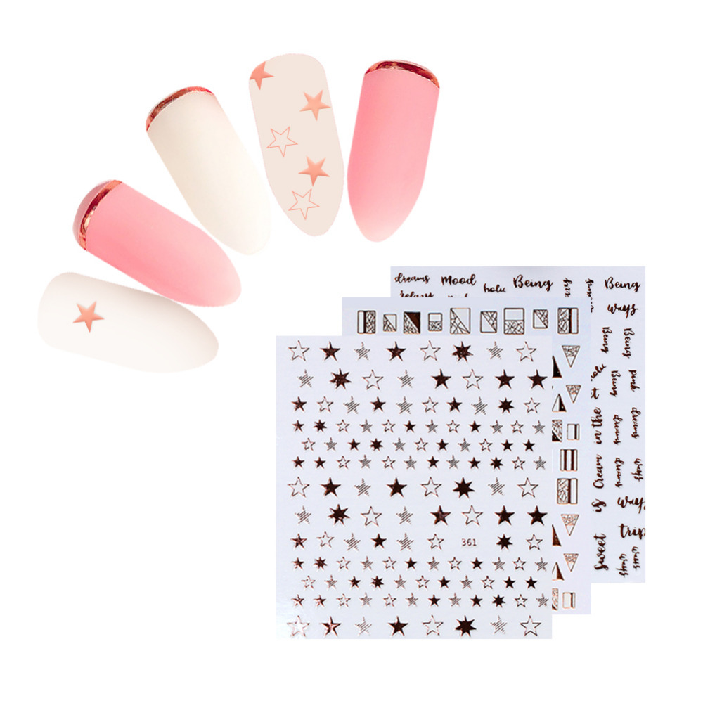 Image 2 - 1 Sheet Star Alphabet Geometry Nail Sticker Rose Gold Feather Water Decal Manicure DIY Decoration Nail Art Transfer Sticker-in Stickers & Decals from Beauty & Health