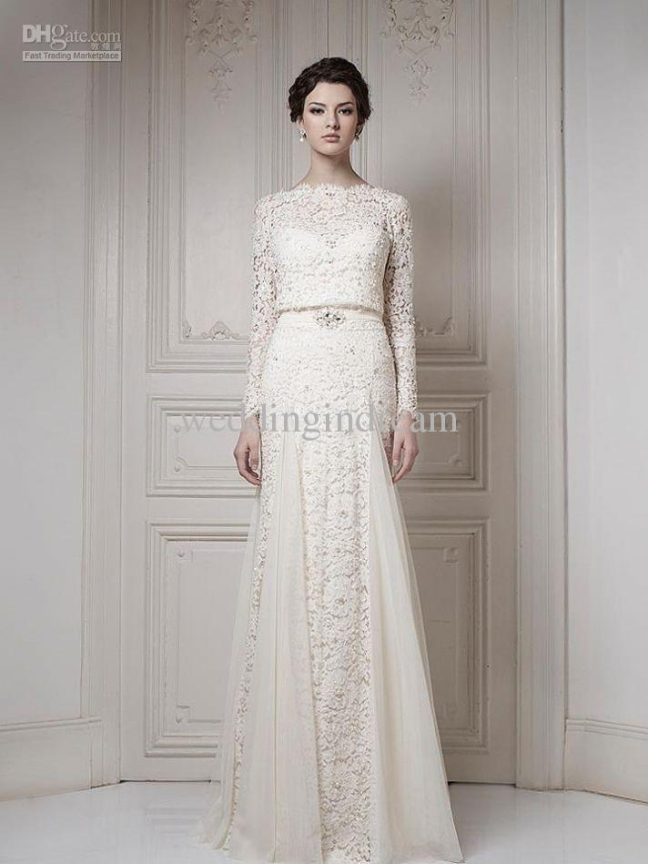 Wholesale best selling bateau ivory a line long sleeves for Best selling wedding dresses