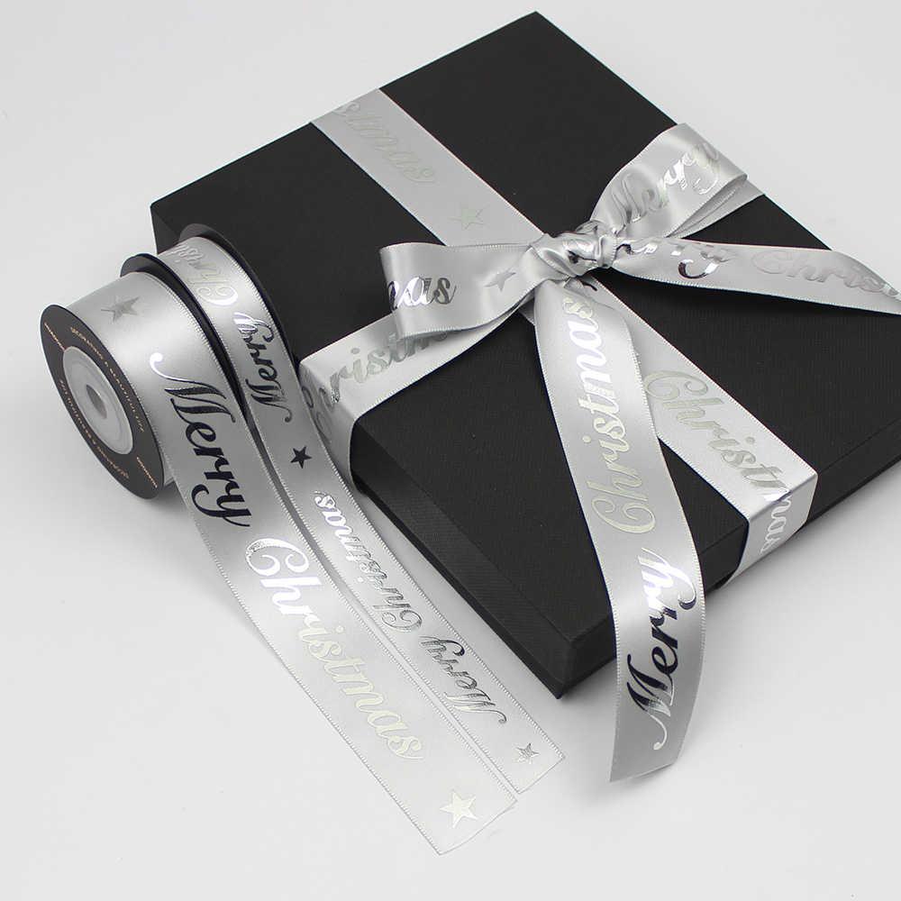 HUADODO 16mm 25mm מודפס החג שמח סרטי זהב רסיס סאטן סרט עבור חג המולד קישוט DIY גלישת מתנה 5 חצרות/הרבה