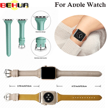 цена на Leather loop Strap for iWatch Series 1&2&3 Sports Watch band for Apple watch strap with Connector 42mm 38mm Genuine Bracelet