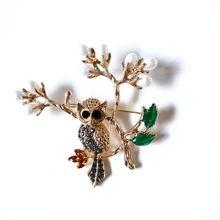 Женская Винтажная брошь в виде совы элегантная эмалированная