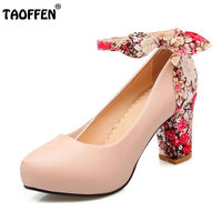 TAOFFEN 5 Color Size 34 43 Sexy Lady Bownot High Heel Shoes Women Inside Platform Ankle